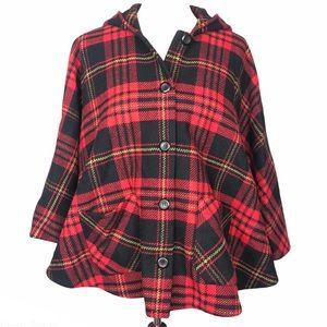 Pendleton Vintage Red Plaid Cape Coat Lambs Wool